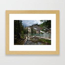 Small high mountain lake in Colorado Rockies Framed Art Print
