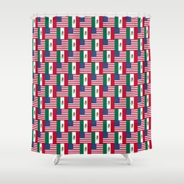 Mix of flag : mexico and usa Shower Curtain