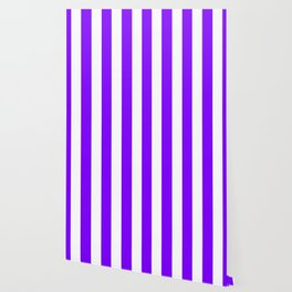 Violet (color wheel) - solid color - white vertical lines pattern Wallpaper