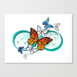 Infinity with an Orange Butterfly Canvas Print