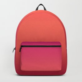Living Coral Pink Peacock Jester Red Gradient Ombre Pattern Backpack