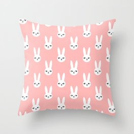 Bunny Rabbit pink and white spring cute character illustration nursery kids minimal floral crown Throw Pillow