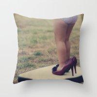 les mis Throw Pillows featuring con mis tacones by Araceli Calabuig