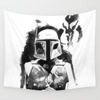 boba fett Wall Tapestries featuring Star Wars - Boba Fett by Vito Fabrizio Brugnola