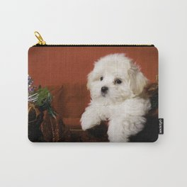 Fluffy Maltese Puppy Relaxing in a Gold Basket with Christmas Decorations Carry-All Pouch