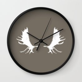 Moose Antlers Silhouettes in Driftwood Brown Wall Clock