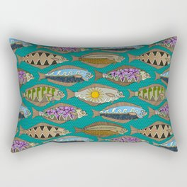 Alaskan halibut teal Rectangular Pillow