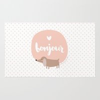 bonjour Area & Throw Rugs featuring Bonjour! by Juice for Breakfast