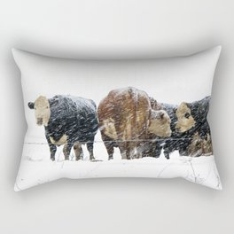 Cattle in a Snowstorm in SouthWest Michigan Rectangular Pillow
