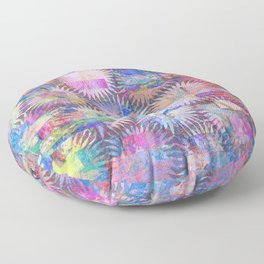 Abstract Anenome Pattern in Purple Pastel Floor Pillow