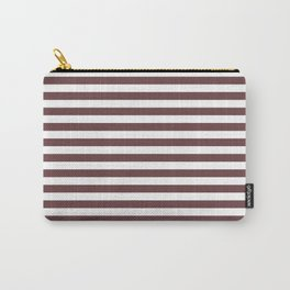 Pantone Red Pear & White Uniform Stripes Fat Horizontal Line Pattern Carry-All Pouch