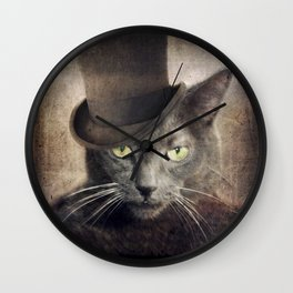 Gray Cat Russian Blue - Captain Grey Wall Clock