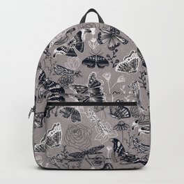 Dragonflies, Butterflies and Moths With Plants on Grey Backpack