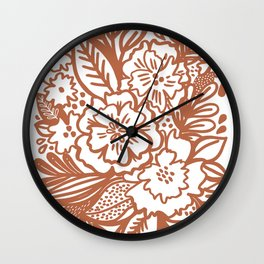 Inky Floral Sketch Wall Clock