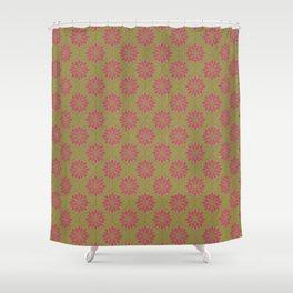 Flower Weave Texture Pattern - Olive Green Deep Pink Shower Curtain