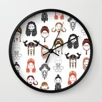 middle earth Wall Clocks featuring The Unwritten Lady Dwarves of Middle Earth by geeksweetie