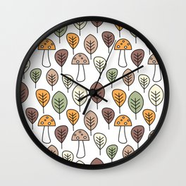 cute fall autumn colorful seamless pattern background with mushrooms and leaves Wall Clock