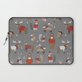 Christmas winter woodland animals foxes deer bunnies moose holiday cute design Laptop Sleeve