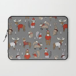 Christmas winter woodland animals foxes deer bunnies moose holiday cute design Laptop Sleeve
