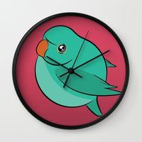 jojo Wall Clocks featuring JoJo (Paprika Background) by Birbles