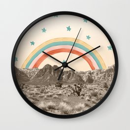 Canyon Desert Rainbow // Sierra Nevada Cactus Mountain Range Whimsical Painted Happy Stars Wall Clock