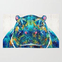 Hippopotamus Art - Happy Hippo - By Sharon Cummings Rug