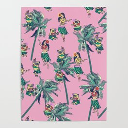 Hawaii Hula with The Pug Poster