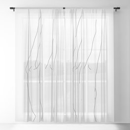 Minimal line drawing of woman's back - Ava Sheer Curtain