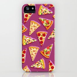 Purple cute pizza slice pattern iPhone Case