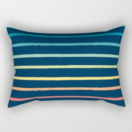 Blue Festival Rainbow Stripe Rectangular Pillow