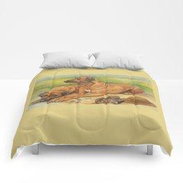 Rhodesian Ridgeback Dog portrait in scenic landscape Painting Comforters
