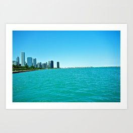 Chicago Bay in Illinois View from Chicago Aquarium Art Print