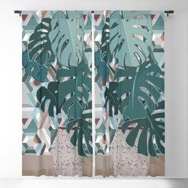 Monstera+mosaic Blackout Curtain