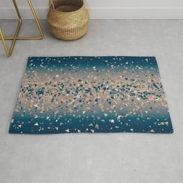 Star explosion, abstract outer space illustration in classic ink blue and coral pink Rug