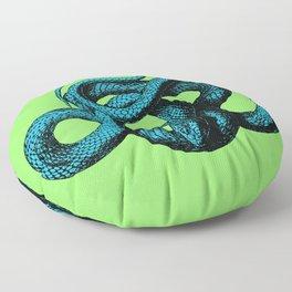 Snek 1 Snake Teal Turquoise Lime Green Floor Pillow