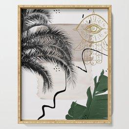 Banana Palms Hamsa Hand Abstract - Naturelle #1 #minimal #wall #decor #art #society6 Serving Tray