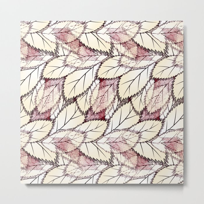 Delicate openwork leaves on a white , light brown background. Metal Print