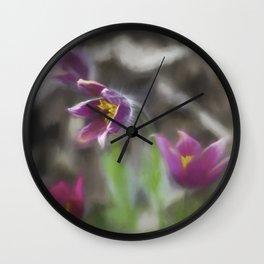 purple pasque flower Wall Clock
