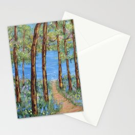 Landscape Trees Art, Impressionism Scenic Lake, Forest Woods Stationery Cards
