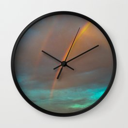 Double rainbow Wall Clock
