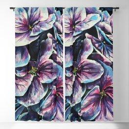 purple flowers watercolor art Blackout Curtain