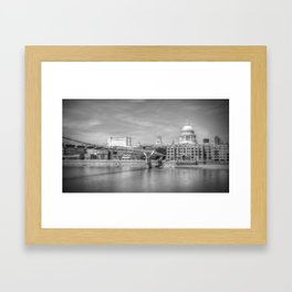 St Pauls Cathedral and the Millenium Bridge London Framed Art Print