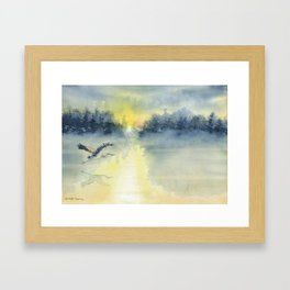 Flying Home - Great Blue Heron Framed Art Print