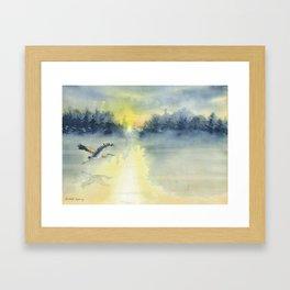 Flying Home - Great Blue Heron Framed Art Print
