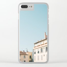Pretty pretty Cannes   Pastel colored apartment buildings in the South of France Clear iPhone Case