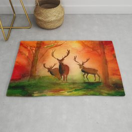 Stags in Autumn Woodland in the Fall Watercolor Print Rug