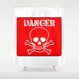Red Danger Sign Shower Curtain