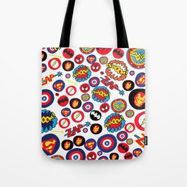 Superhero Stickers Tote Bag