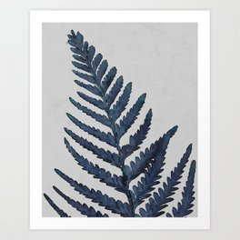 Botanical Indigo Navy Blue Vintage Leaf Fern, Watercolor Wall Art Farmhouse Rustic Country Nature Art Print