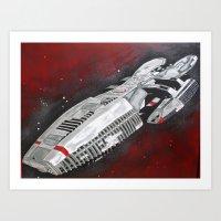 battlestar Art Prints featuring Battlestar by Randy Cross